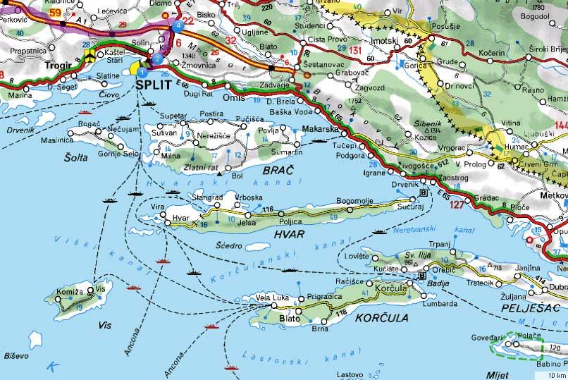 kroatien karte inseln ile ilgili görsel sonucu kroatien karte inseln